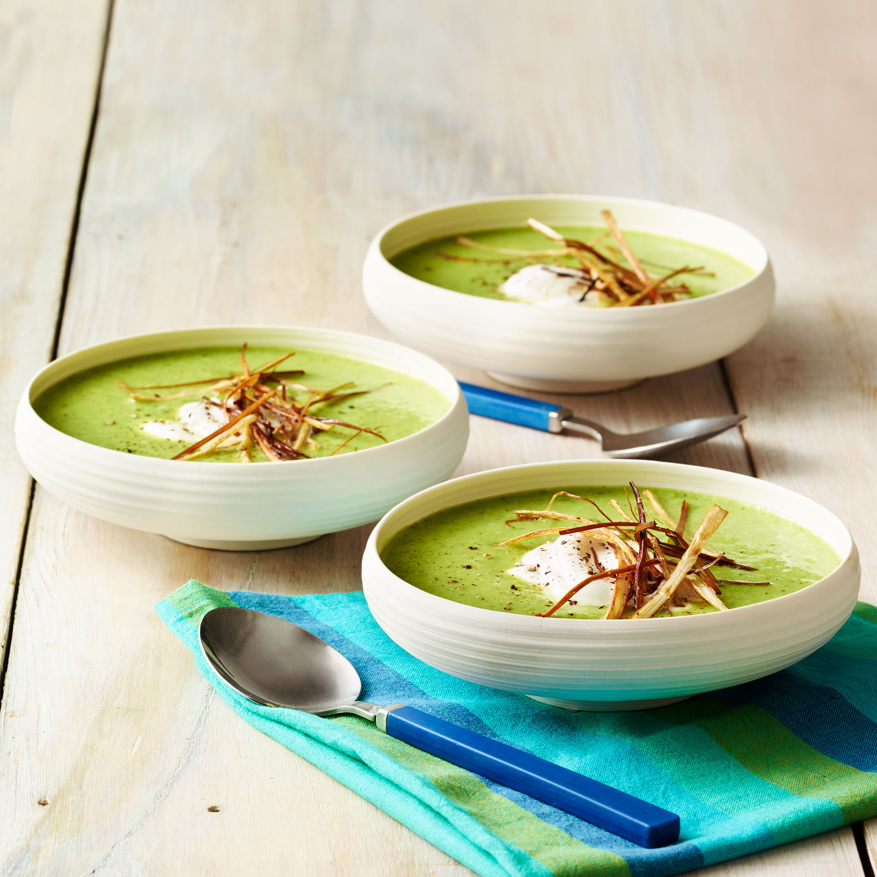 spring pea soup with frizzled leeks