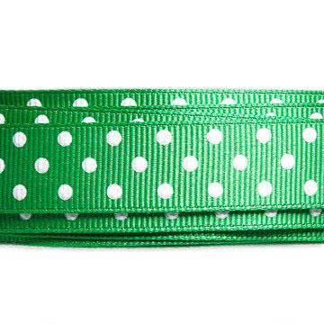 Green Grosgrain White Dots