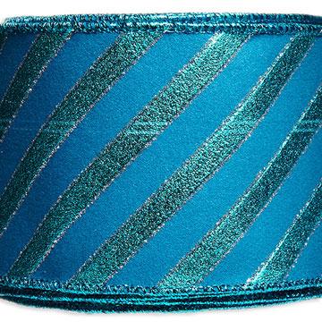 Turquoise Wired Velvet Stripe