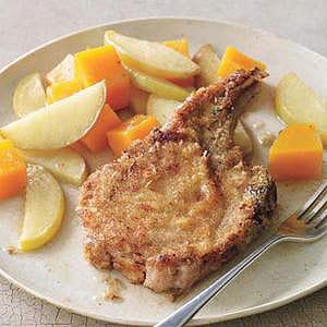 Deviled Pork Chops with Apples & Squash