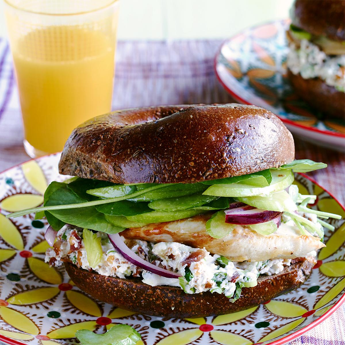 Chicken Bagel Sandwiches with Bacon-Walnut Cream Cheese