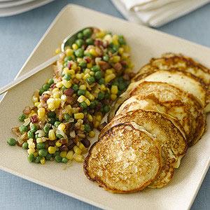 Ricotta Pancakes with Pancetta, Peas and Corn