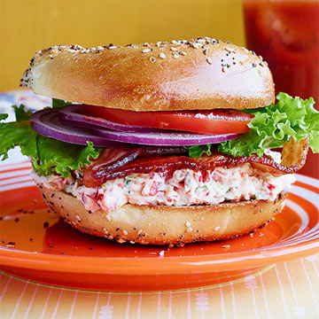 Everything Cream Cheese BLTs on Everything Bagels