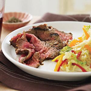 Marinated Flank Steak with Sweet-Hot Slaw