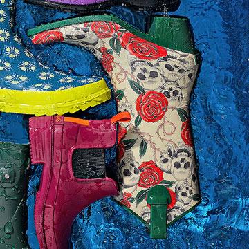 Rodeo Rose and Skulls Rain Boots