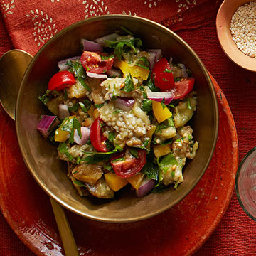 Eggplant Salad with Yellow Peppers & Red Onion