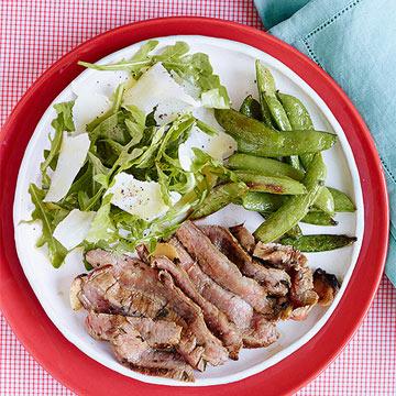 Flank Tagliata with Black-Pepper Sugar Snaps & Arugula Salad