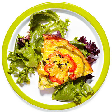 Bell Pepper & Manchego Crustless Quiche with Greens