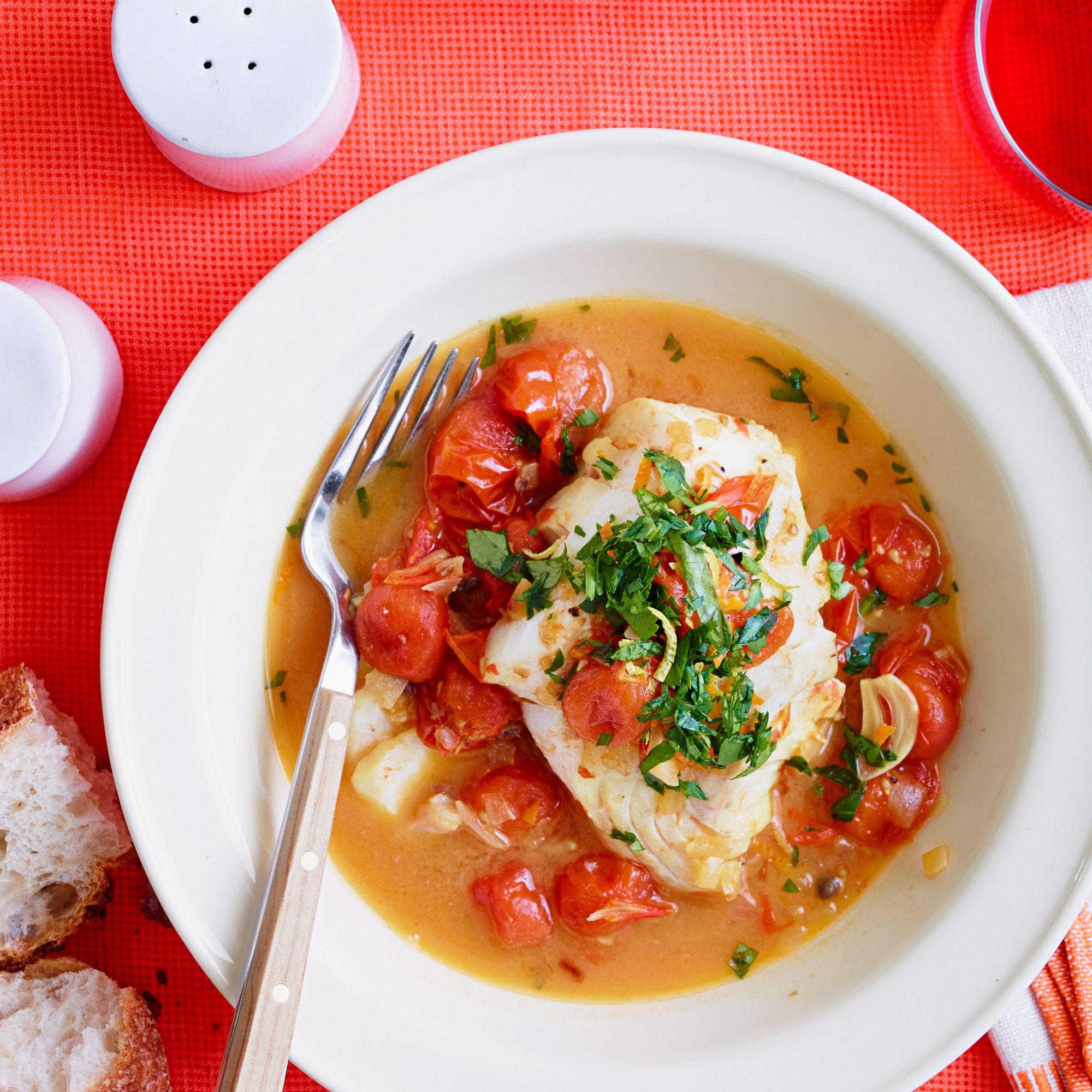 Sicilian-Style Saffron Cod with Burst Tomatoes