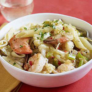 Hot or Cold Spicy Cauliflower & Seafood Pasta