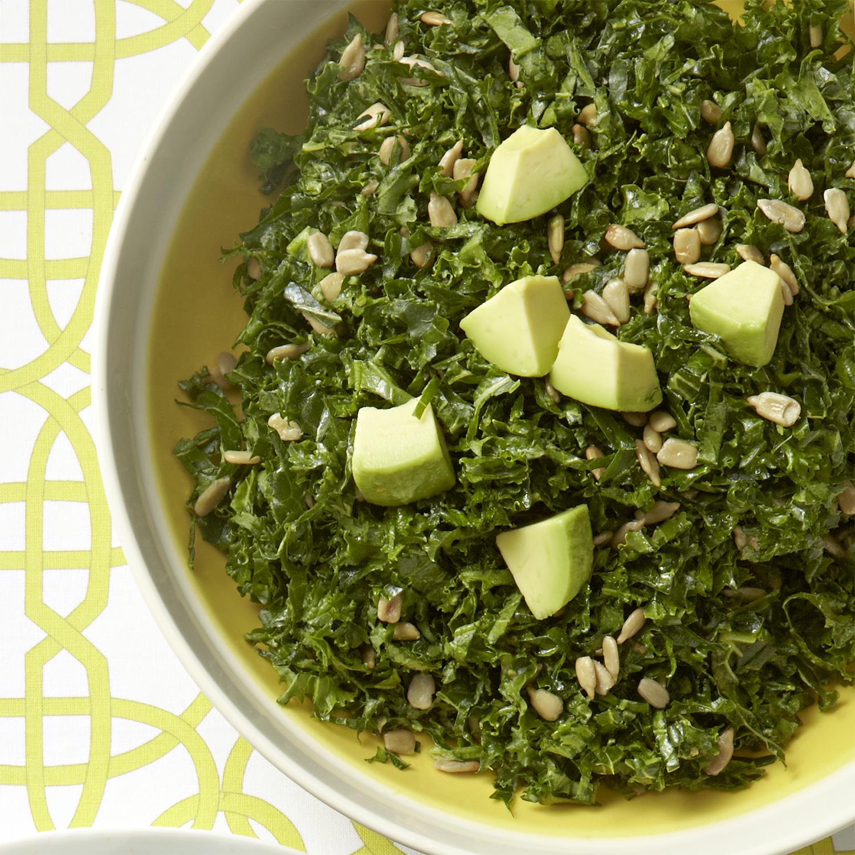 almond-avocado kale salad