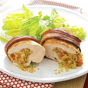 Bacon-Wrapped Jambalaya-Stuffed Chicken