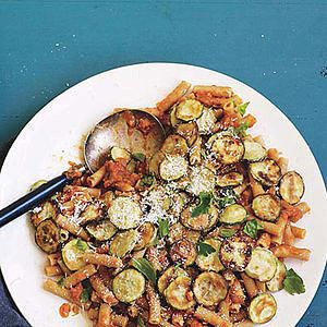 Ratatouille Riggies: Eggplant Marinara with Rigatoni and Zucchini