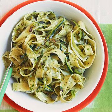 Tagliatelle with Zucchini & Mint Pesto