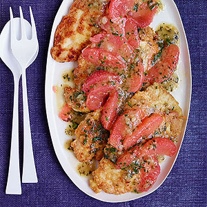 Chicken Francese with Grapefruit-Tarragon Sauce