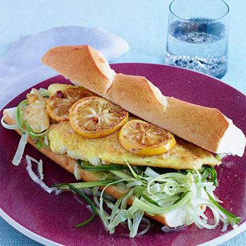 Egg-Battered Flounder Sandwiches with Scallion & Celery Slaw