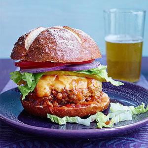 Turkey Cheeseburgers with Beer-B-Q Sauce on Pretzel Rolls