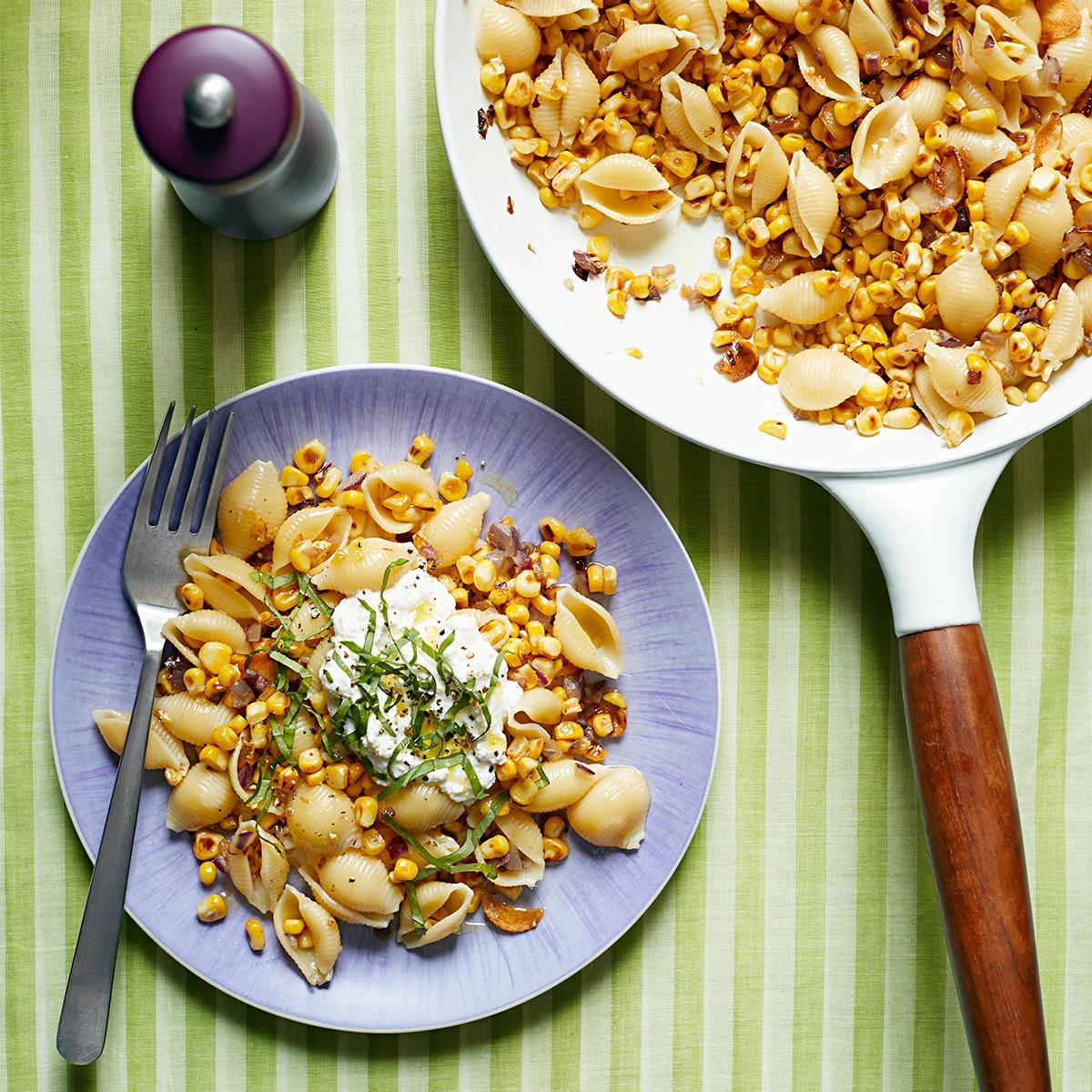 fresh corn and ricotta pasta