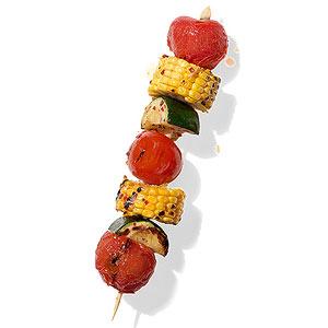 Corn, Tomato and Zucchini Kebab