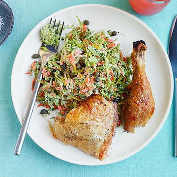 Roast Chicken with Lemony Broccoli Slaw