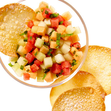 Spicy Melon Salsa with Wonton Chips