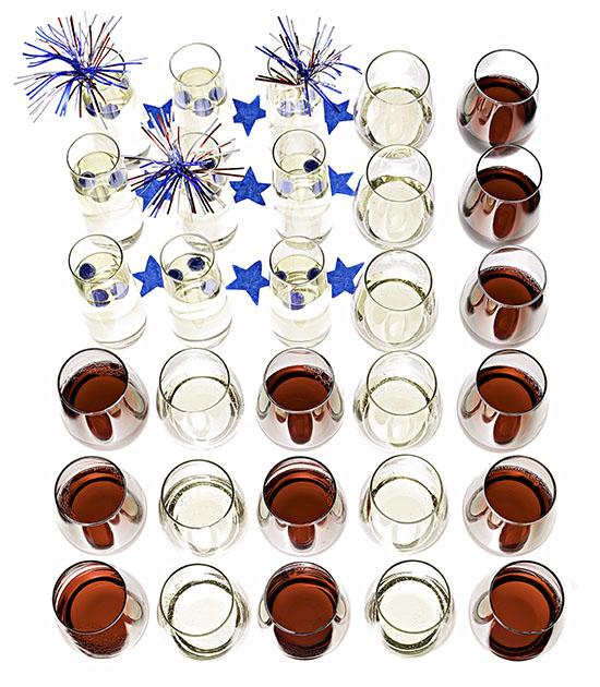 Wine Glass Flag Arrangement