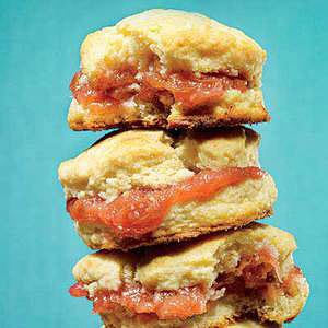 Biscuits with Rhubarb Jam