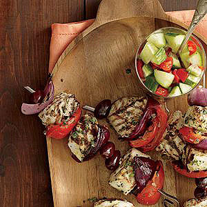 Grilled Halibut Kebabs with Tarragon Butter
