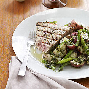 Grilled Tuna Steaks with Potato Green Bean Salad