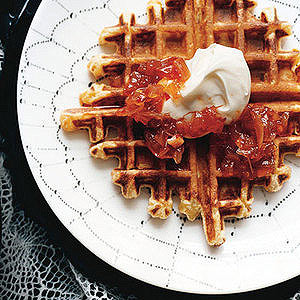 Savory Ricotta Waffles with Red-Hot Jam