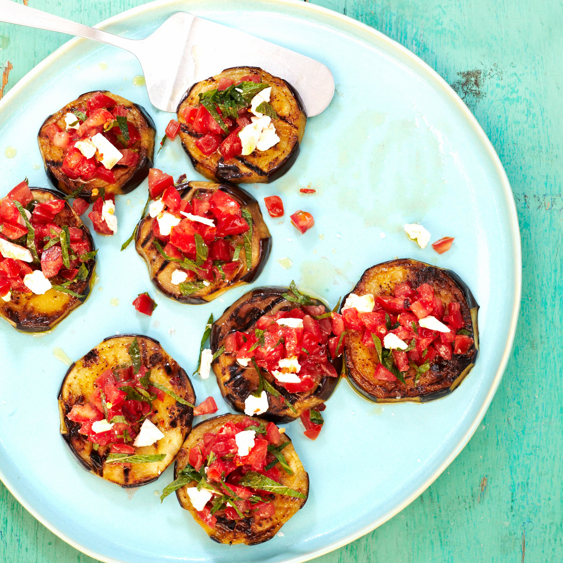 Smoky Grilled Eggplant with Spicy Tomato Topping