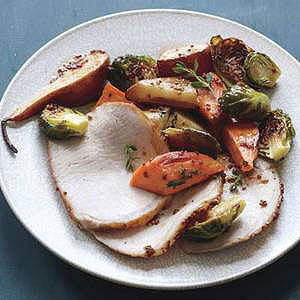 Glazed Pork Loin with Brussels Sprouts & Sweet Potatoes