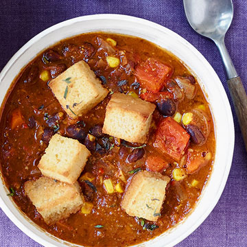 Smoky Black Bean Chili with Corn Bread Croutons