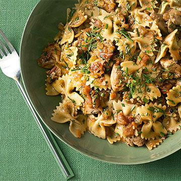Chicken Thigh Goulash with Buttered Bow Ties