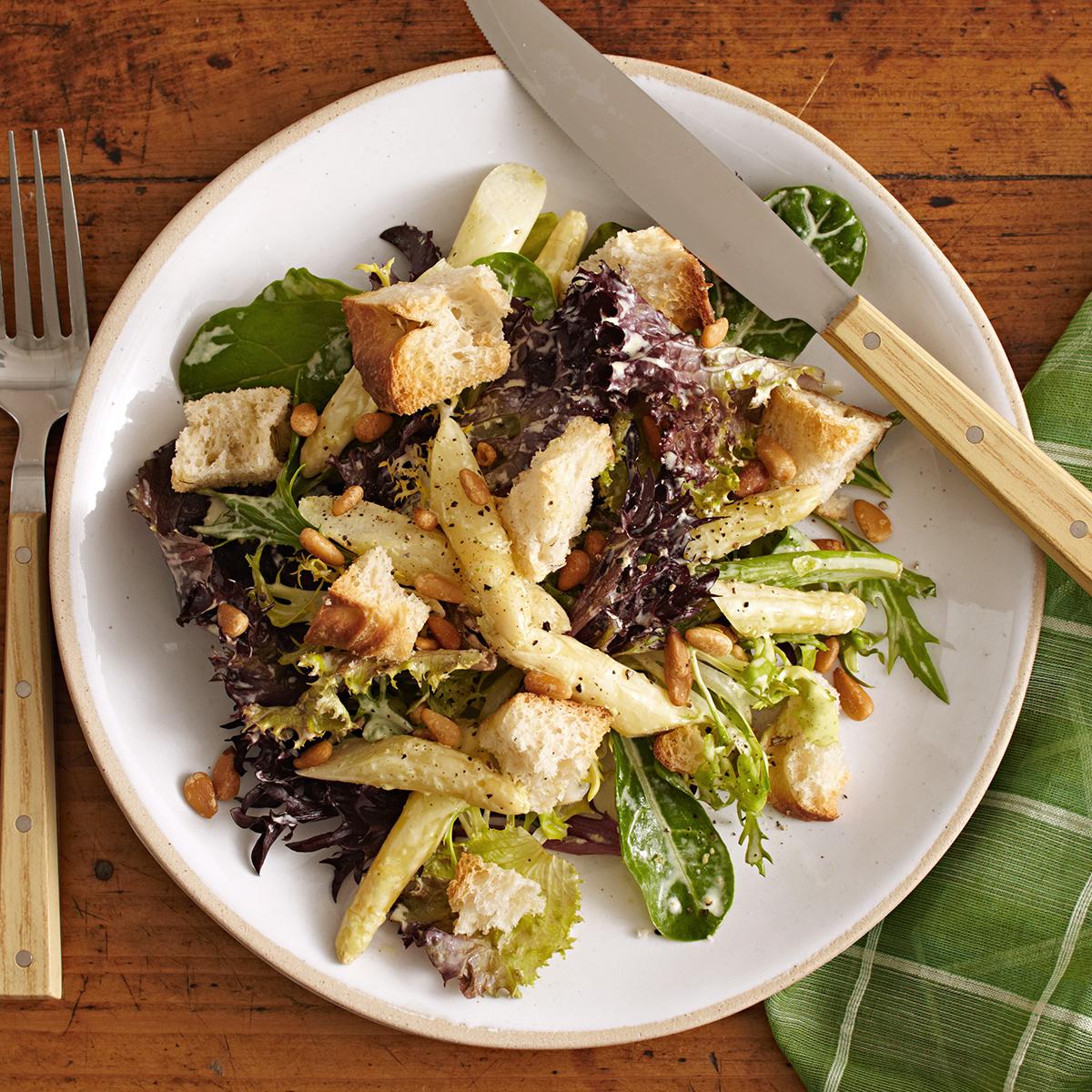 white asparagus bread salad with hollandaise