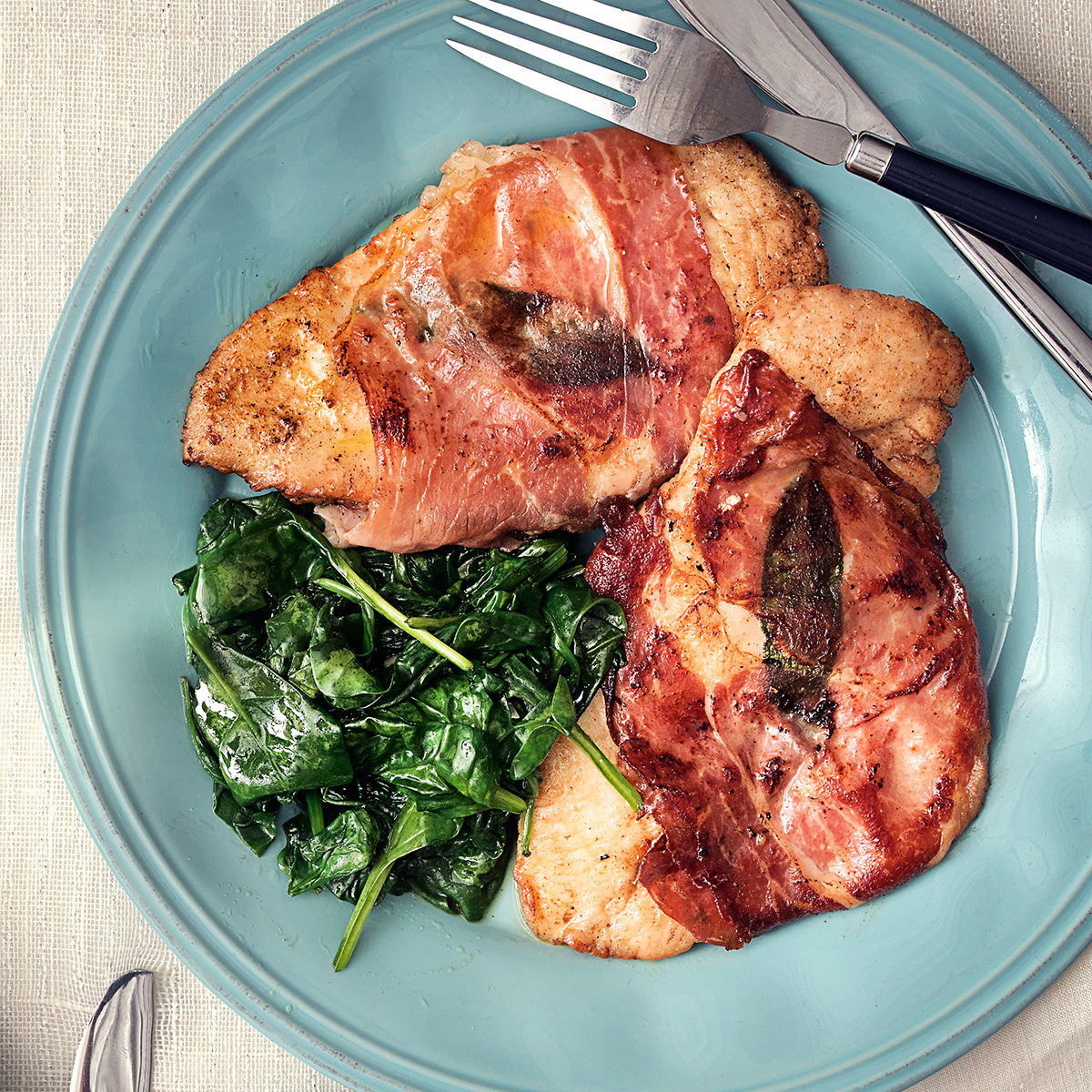 Chicken Saltimbocca with Wilted Spinach