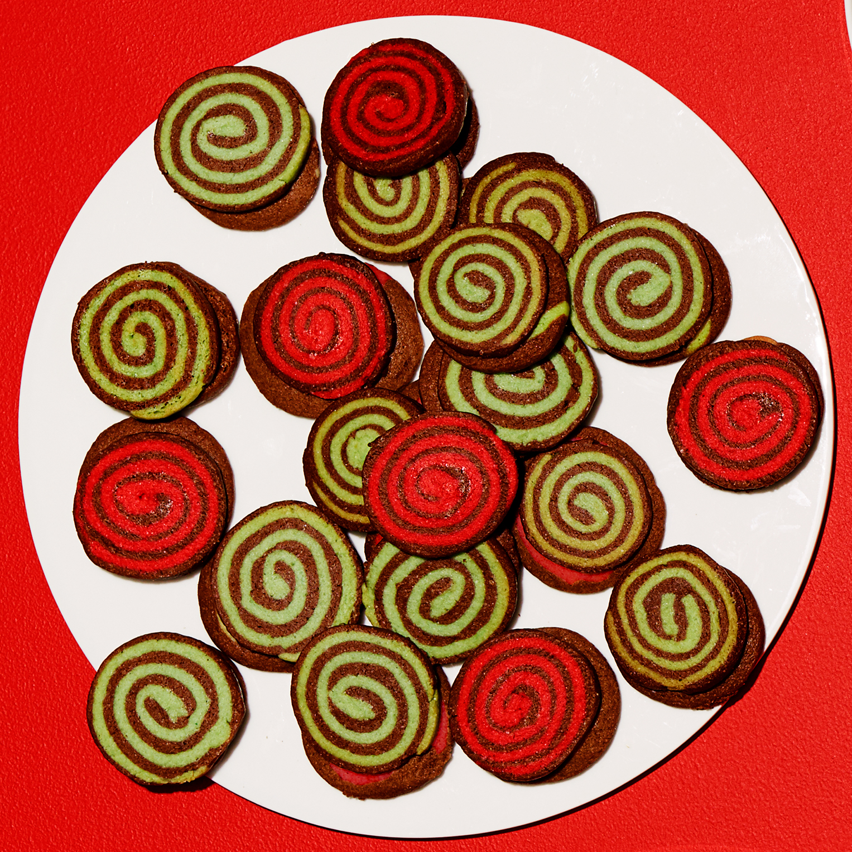 Chocolate-Peppermint Yule Log Spirals