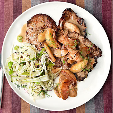 Veal Scallops with Apple-Cream Sauce & Fennel Slaw