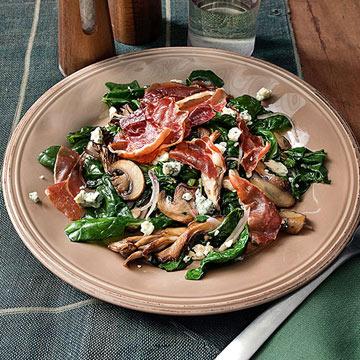 Warm Spinach Salad with Crispy Prosciutto
