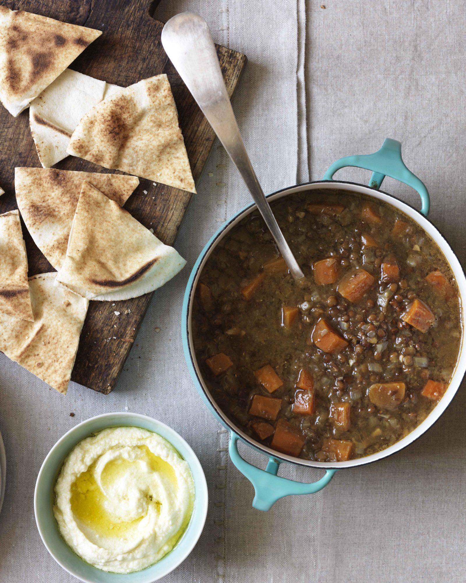 Lentil Soup with Pita & Whipped Feta