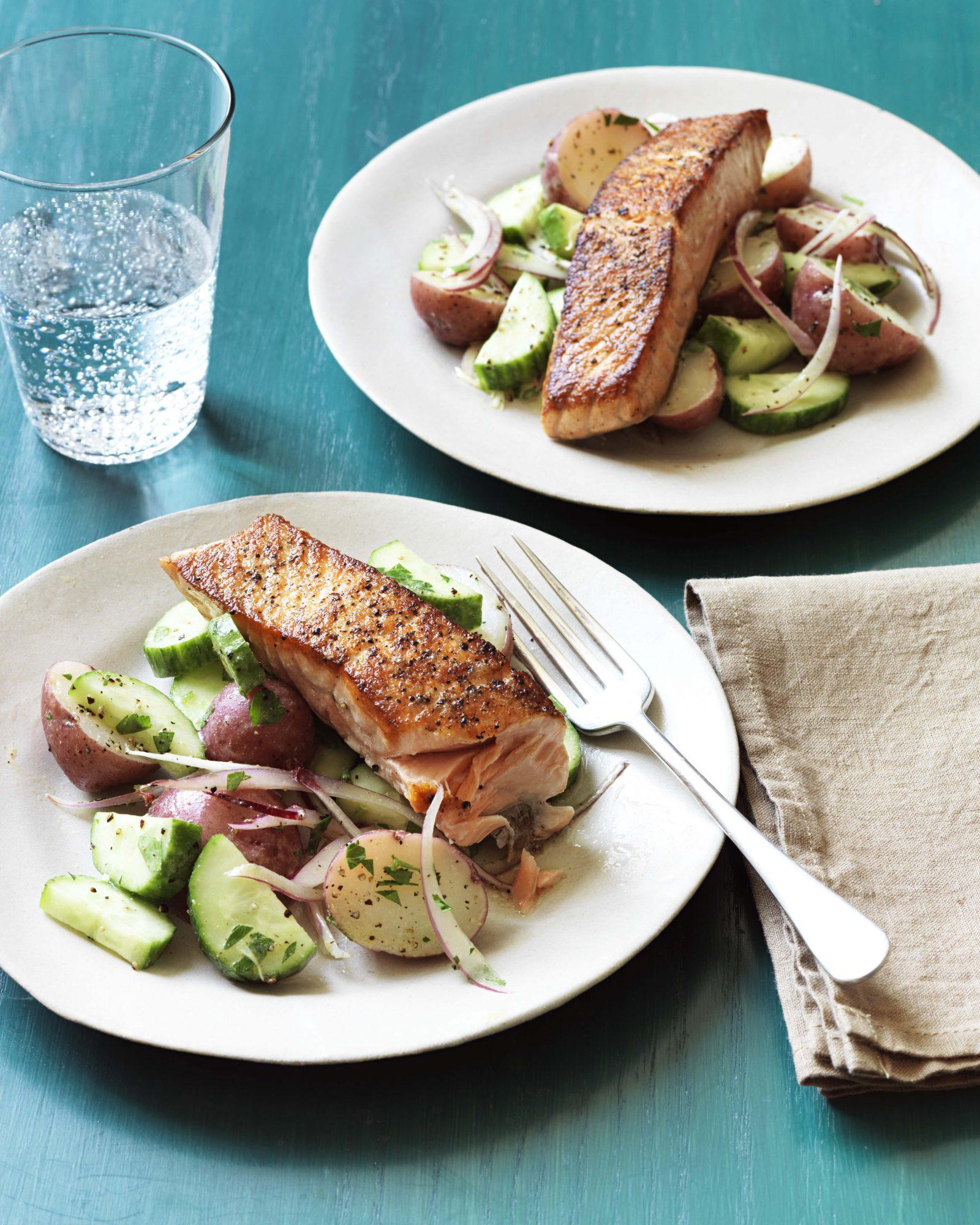 Pan-Seared Salmon with Potato & Cucumber Salad