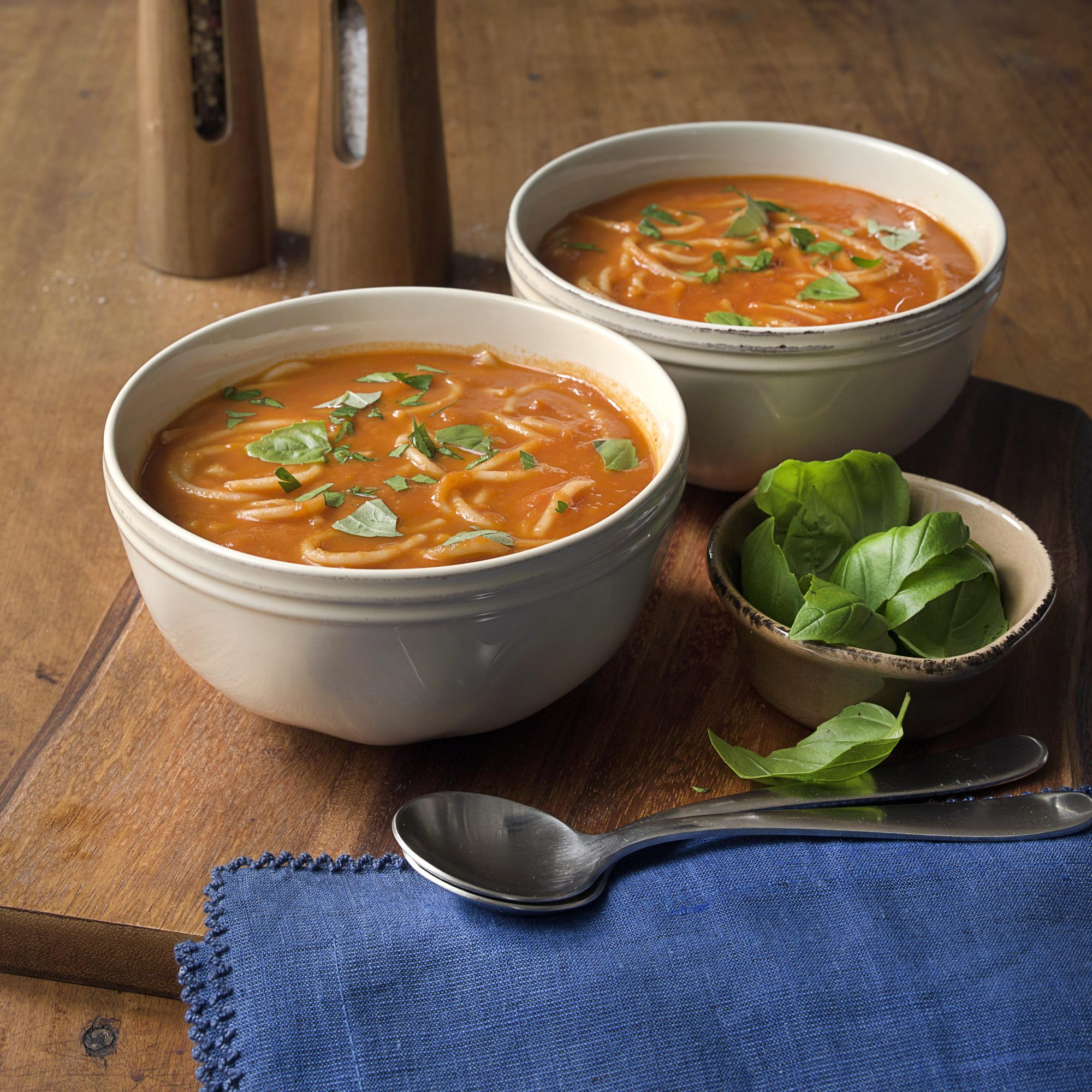 Quick Tomato Soup with Balsamic Vinegar & Toasted Pasta