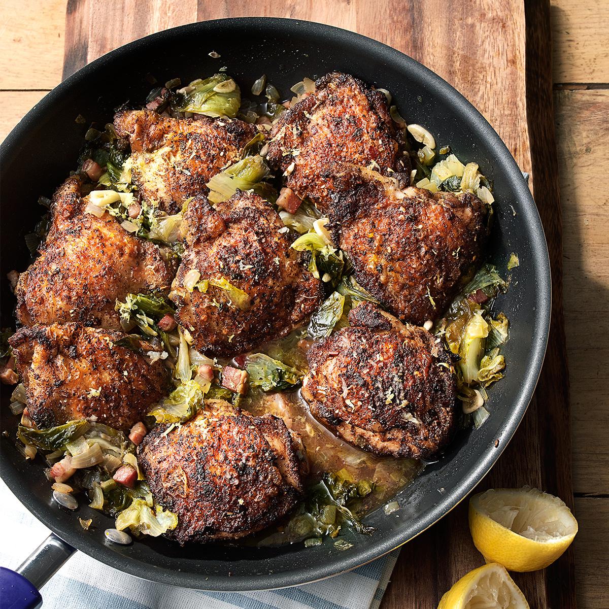 braised chicken greens