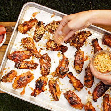 Apricot-Date Sticky Wings with Marcona Almonds