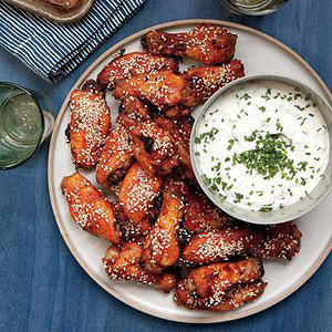 Sticky Chicken Wings with Blue Cheese Dip