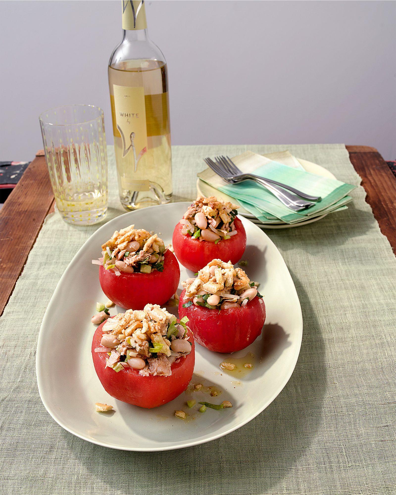 Beefsteak Tomatoes Stuffed with Tuna & White Beans