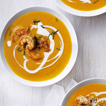 Carrot & Coconut Soup with Curried Shrimp