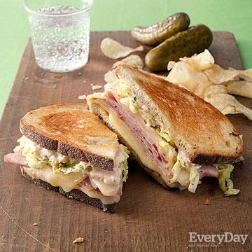 Ham & Swiss Reubens with Savoy Cabbage & Green Onion Dressing