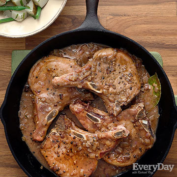 Pork Chops with Potatoes, Green Beans & Quick Brown Sauce