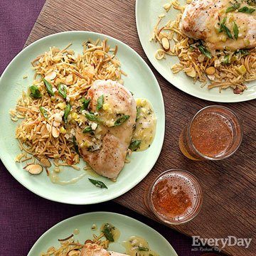Spring Onion Chicken & Rice Pilaf with Almonds